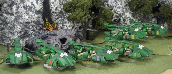All of the armies' Tetras speed across the battlefield marking out enemy targets