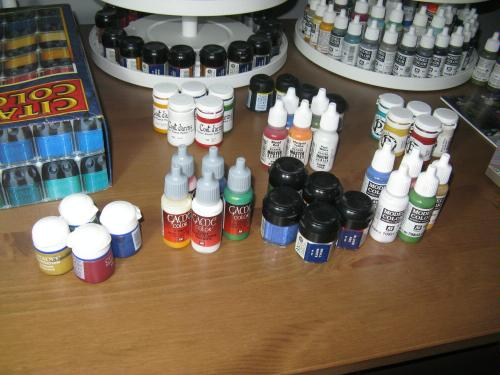 different paint ranges that have roughly equivalent colours
